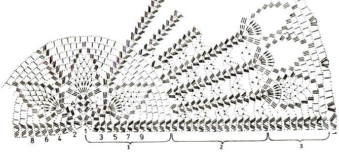 Шаль веера крючок схема