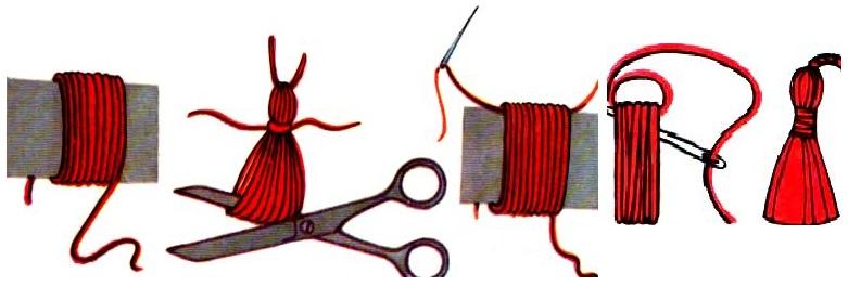 139Как сделать декоративную кисточку из ниток