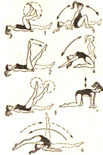 Лежа, при условии сохранения симметричного положения частей тела относительно оси позвоночника.